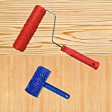 SYROVIA 2 Pcs 3.9' Graining Painting Tool with Handle + Rubber 7' Empaistic Wood Pattern Paint Roller