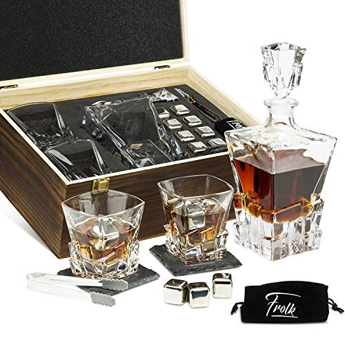 Whiskey Decanter Set for Men and Women - Whiskey Decanter, 2 Rocks Whiskey Glasses, 8 Stainless Steel Whisky Cubes, 2 Coasters, Silicone-Tipped Tongs & Freezer Pouch in Pinewood Box
