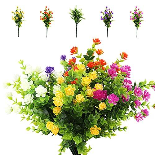Ramas Eucalipto Plantas Verdes 5 Piezas Artificiales Flores de Plastico Arbusto Plastico Exterior Interior para Jardinera Mesa Terraza Balcon Decoración Jarrones…