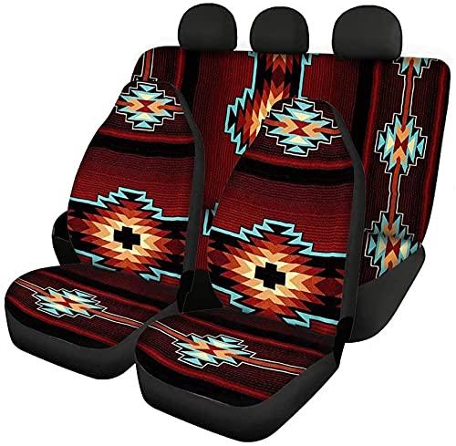 Renewold Fundas de asiento de coche con estampado tribal azteca para mujeres y hombres, protector de asiento de vehículo a la moda para coches, camiones, SUV y furgonetas