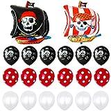 Feelairy 22 pcs Globos Piratas Gigantes Globo de Helio Barco Pirata, Globos de Calavera, Globos de Látex LunaresRojos, Globos Blancos, Juego de Accesorios piratas para Cumpleaños de Niños