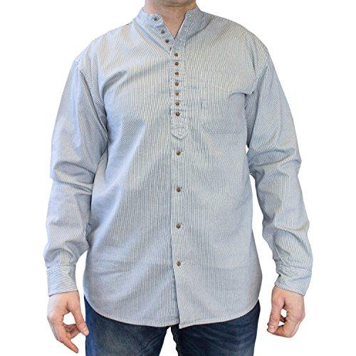 NADUR Stehkragenhemd - Irisches Stehkragenhemd - SW 1371 Black White (M)