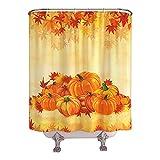 YellyHommy Fall Shower Curtain for Bathroom Thanksgiving Pumpkin Autumn Maple Leaf Holiday Bath Curtain Sets - 72' x 72'