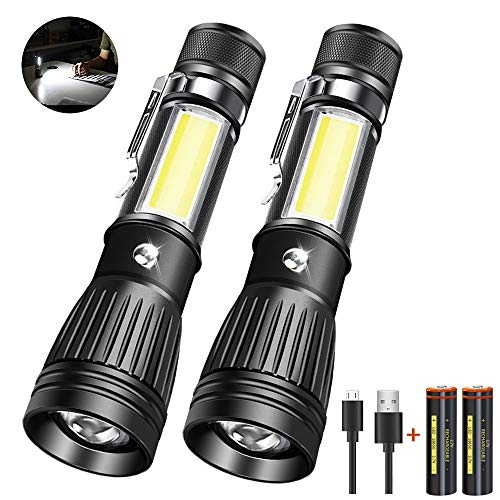 Taschenlampe, COB Arbeitsbeleuchtung (einschließlich ersetzbar 18650 Batterie*2), LED USB Wiederaufladbare Taschenlampe Zoombar, von AOMEES (2 Pack)