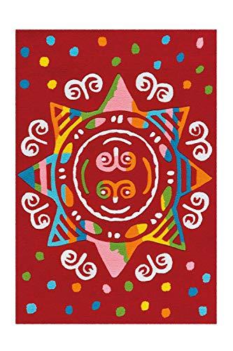 Arte Espina Kinderteppich Spirit Glowy, Red Mandala, ca. 110x160 cm