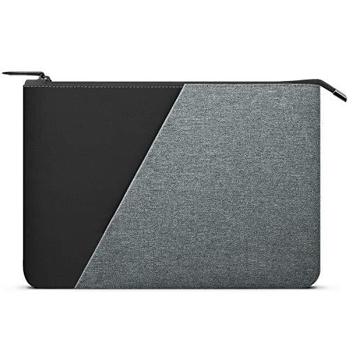 Dadanism 13 Inch Laptop Tablet Sleeve Case for New iPad Pro 12.9 2020/2018, 13' MacBook Air/MacBook Pro, Surface Pro 7/6/5/4,Surface Pro X, Sleek Slim Water-Proof Carrying Handbag, Black & Gray