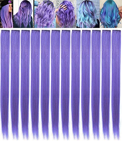 Lavender Hairpieces for Kids Highlights Straight Clip in Colored or Colorful Hair Extensions for Girls and Dolls 9PCS (Lavender color)