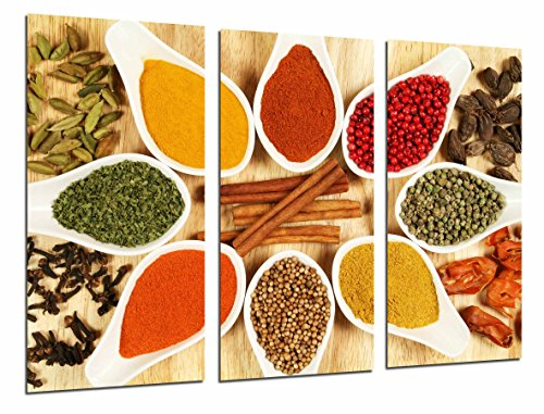 Cuadros Camara Fotográfico Especias de Colores en Cucharas Blancas,Cocina, Tienda Tamaño total: 97 x 62 cm XXL, Multicolor
