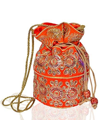 Purpledip Seda Potli Bolsa de Satchel (cordón Bolsa Bolso de Mano): Tradicional Bordado Embrague; Naranja (10532)