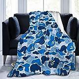 Blue Bape Camo Ultra-Soft Lightweight Blanket Flannel Throw Blanket50 X40