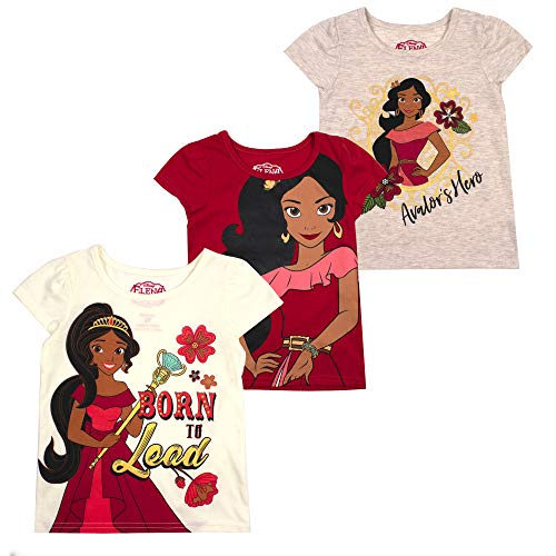 Disney Princess T-Shirts for Girls – 3 Pack Short Sleeve Graphic Tees, Beige, 2T