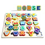 TOP BRIGHT Wooden Alphabet Puzzle, Educational Toys for Tooddlers - ABC Puzzle Board for 2 3 4 Years Old, Preschool Boys & Girls Learning Letter Toys