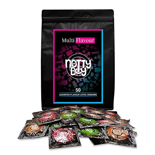 Surtido de condones de sabor mixto NottyBoy - Fresa, chocolate, manzana verde - 50 condones lubricados con sabor, solo látex natural