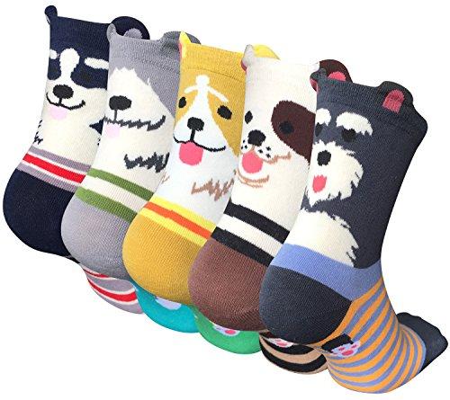 Chalier 5 Paare Damen Lustige Cat Socken mit Motiv Karikatur Tier Witzige Niedlich Katze Hund Coole Bunte Socken Baumwolle Weihnachten Geschenkideen für Frauen Mädchen