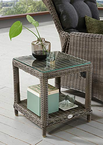 Destiny Loungetisch Merano Tisch Polyrattan Beistelltisch Kaffeetisch 50 x 46 cm