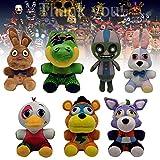 3Pcs / 4Pcs / 7Pcs 7in FNAF Bonnie Chica Freddy Bear Foxy Plush Toy, Nightmare Bonnie y Funtime Foxy Plushie Dolls Almohada de Peluche Suave Adecuada para Regalo de colección de Fans (7 Piezas)