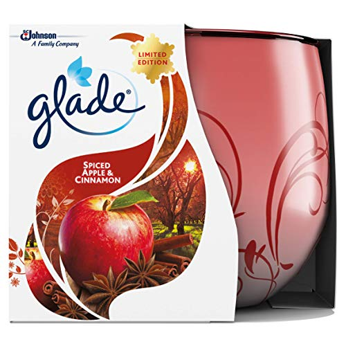 Glade Scented Candle, Air Freshener Wax Candle for Aromatherapy, 120 g, 30 Hour Burn Time, Apple & Cinnamon, 1 Candle