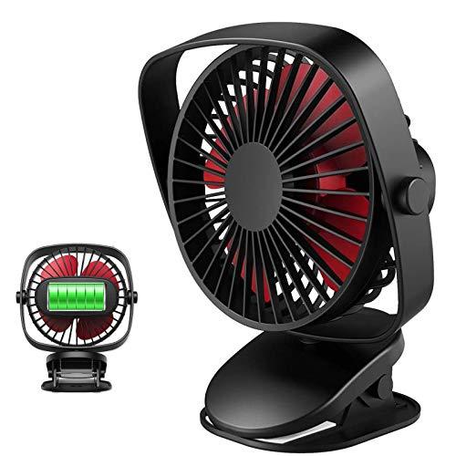 JXCAA Ventiladores Recargable,Ventilador USB Silencioso, Ventiladores De Sobremensa,3 Velocidades, Rotación De 360 Grados, Suministro De Aire De Múltiples Ángulos, Ventilador De Mesa,1,3-4,7 W,Negro