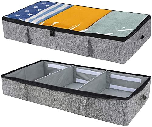 Unterbett Aufbewahrungsbox | Unterbett Aufbewahrungstasche | Aufbewahrungs-Organizer für Bettdecken, Kleidung und Schuhe | Stabile Struktur, Verstellbare Inneneinteilung | 2er Set