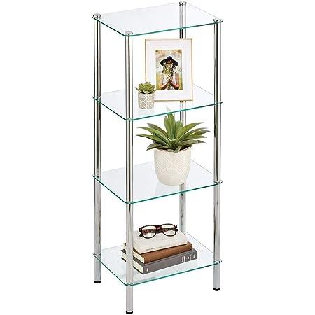 mDesign Estante de pie con 4 baldas – Estante de metal y cristal de diseño moderno – Compacta estantería decorativa para baño, despacho, dormitorio o ...
