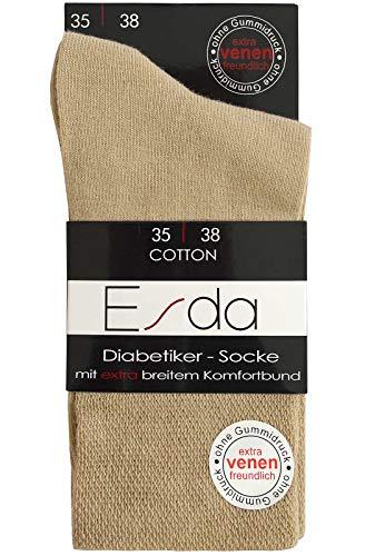 Esda - Damen Socke Diabetikersocke beige 2er-Pack (extra venenfre&lich) 39/42
