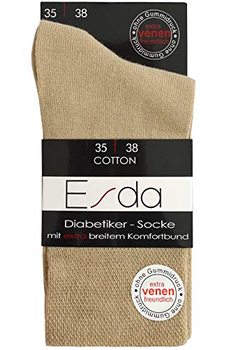 Esda - Damen Socke Diabetikersocke beige 2er-Pack (extra venenfreundlich) 39/42