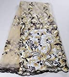 2020 French Net Lace Fabric for Nigeria Wedding Dress Embroidery Design African Tulle Siwss Mesh Voile Lace (as picture4)