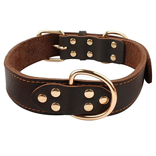"Beirui Soft Leather Dog Collar - Genuine Latigo Leather Made - Best Choice for Daily Walking or Sports Training - 18-25"" Brown"