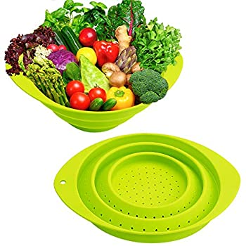 Collapsible Colander,Silicone Food Strainer Set of 2 with Handles,Portable Veggies Fruits Drainer,Kitchen Food Steam Basket Pasta Sieve Colander for Camping,Travel,Picnic Boat Green