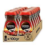 NESCAFÉ CLASSIC DESCAFEINADO todo aroma y sabor, café soluble descafeinado, frasco de vidrio, Pack de 12 x 100 g