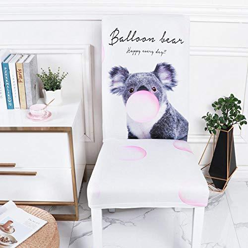 BHXXMGG Fundas para Sillas Pack de 6 Blanco Fundas Sillas Comedor Animal Kakoala Fundas Elásticas Chair Covers Lavables Desmontables Cubiertas para Sillas Modern Boda Decor Restaurante