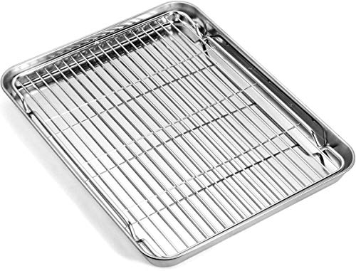 Baking Sheet with Rack Set, Umite Chef Stainless Steel 9 Inch Cookie Sheet Baking Pans with Cooling Rack, Cookie Pan with Rack Non Toxic & Healthy, Easy Clean & Heavy Duty, Dishwasher Safe