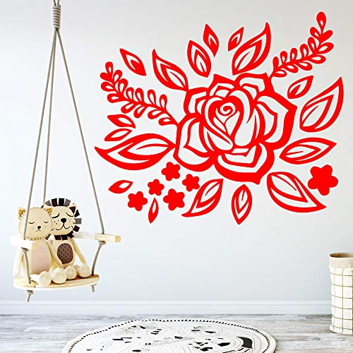 Tianpengyuanshuai Schöne Blume Wandaufkleber Kunst Wanddekoration Hintergrund Wandkunst Aufkleber-45X52cm
