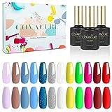 COVACURE UV Nagellack Set, 12 Farben 8ml Gel Nagellack Set Farben Ideal für Vier Jahreszeiten, mit Geschenkbox für Geschenk und Heimgebrauch