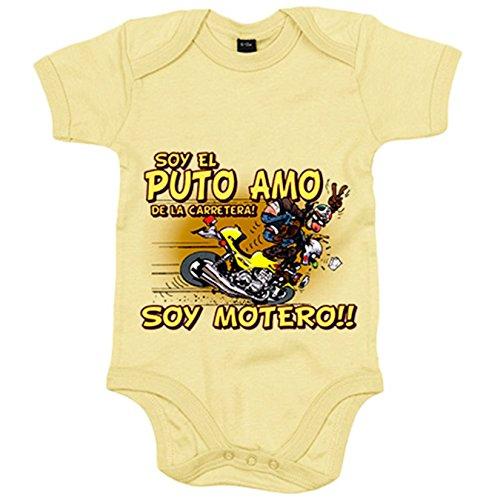Body bebé soy el Puto Amo de la carretera soy motero - Amarillo, Talla única 12 meses