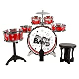 Toy Drum Set for Kids, 7 Piece Set with Bass Drum with Foot Pedal, Tom Drums, Cymbal, Stool and Drumsticks for Toddlers, Boys and Girls by Hey! Play!