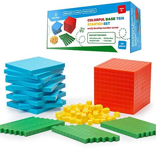 Simply Magic 131 PCS Base Ten Blocks for Math - Place Value Blocks, Base 10 Math Manipulatives K-3, Math Counters, Number Blocks, Math Cubes for Kids, Counting Blocks - Kindergarten 1st 2nd 3rd Grade
