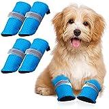 4 Zapatos de Perros Protectores de Patas de Verano Sandalias de Malla para Mascotas Botas Antideslizantes con Hebilla Ajustable para Perros y Gatos Medianos Pequeños