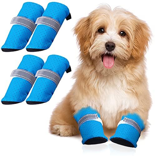 4 Stücke Sommer Hund Schuhe Pfote Schutz Haustier Mesh Sandale Schuhe Rutschfeste Hundestiefel mit Verstellbare Schnalle für Kleine Mittlere Hunde und Katzen