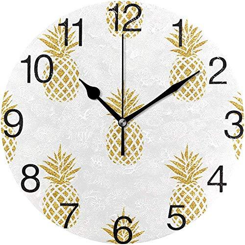 L.Fenn decoratieve gouden ananas design wandklok rond diameter Great Silent Printed