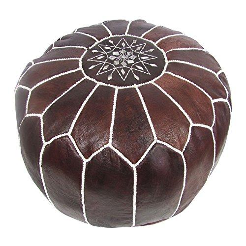 ALMADIH Leder Sitzkissen Pouf braun mit weißer Ziernaht - Handarbeit aus robustem Leder mit formstabiler Füllung – Sitzsack Ottoman marokkanische orientalische Bodenkissen (Lederpouf braun Vintage)