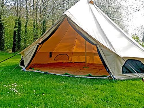 Bell Tent Village 100 % Baumwoll-Segeltuch, 5 m Glockenzelt mit Bodenplane mit Reißverschluss.