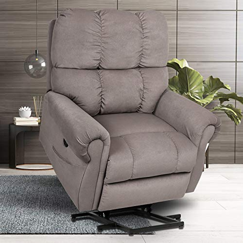 Power Lift Recliner Chair Lift Recliners for Elderly, Massage Reclining Chairs with Heat & Vibration, Heavy Duty Electric Plush Sofa Home Living Room Chairs, Light Coffee