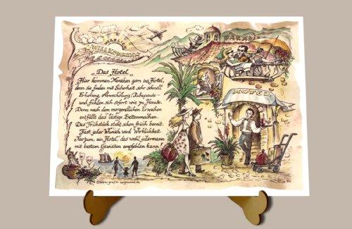 Geschenk Hotel Geschenk Andenken fürs Hotel Gastgeschenk Zeichnung Color 30 x 21 cm mit Aufsteller
