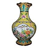 LAOJUNLU Esmalte rojo de cobre pintado a mano Hongo Botella Boca de una sola flor y pjaro Jarrn de imitacin de bronce antiguo obra maestra coleccin de solitario chino estilo tradicional joyera