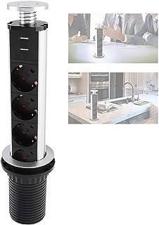 yuyte Multicontacto Torre para Mesa de Cocina USB Pulling Pop Up Outlet Desktop Worktop Kitchen Electric Socket 3-Outlet Power Socket + 2 USB Port Charger for Office Home