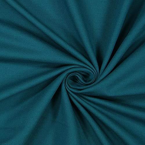 Fabulous Fabrics Jersey Petrol, Uni, 160cm breit – zum Nähen von Oberkleidung, Hosen und T-Shirts - Meterware erhältlich ab 0,5 m