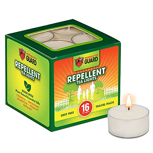 Mosquito Guard Repellent Tea Light Candles (16 Pack) Made with Natural Plant Based Ingredients - Citronella, Lemongrass, Rosemary, Cedarwood Oil- Deet Free
