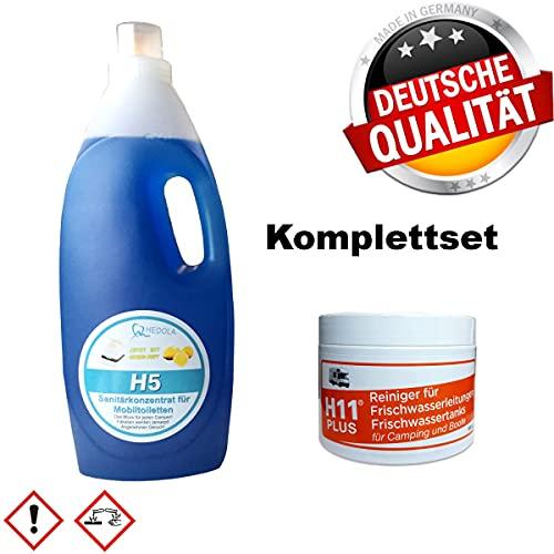 H11 Plus Frischwassertankreiniger 500 g + H5 Sanitärflüssigkeit 2L für Campingtoilette Wohnwagen Reisemobil