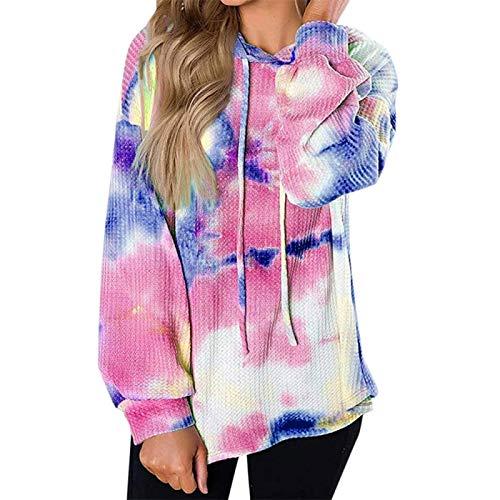 zhanxin Women Hoodies Sweatshirt Ladies Colorful Tie-Dye Printed Long-Sleeve Hooded Womens Plus Size Tops Loose Cotton Pullover Pink